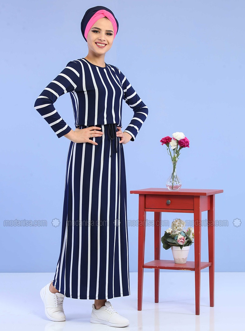 Navy Blue - Stripe - Crew neck - Cotton - Dress