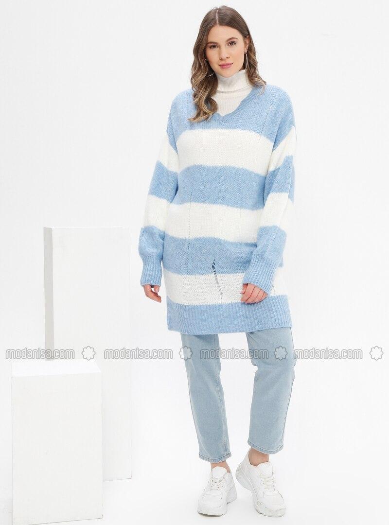 Blue - Stripe - V neck Collar - Acrylic -  - Plus Size Jumper