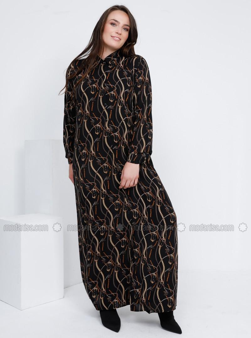 Black - Multi - Unlined - Point Collar - Viscose - Plus Size Dress
