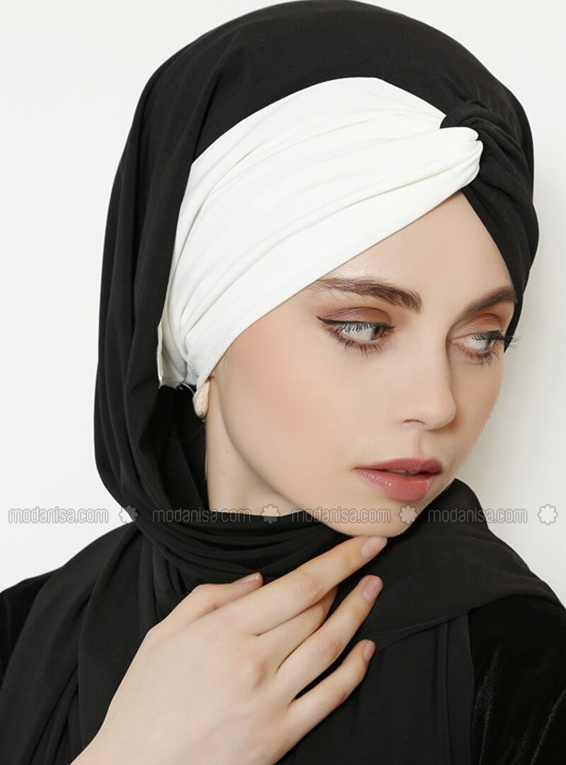 Ecru - Black - Plain - Shawl