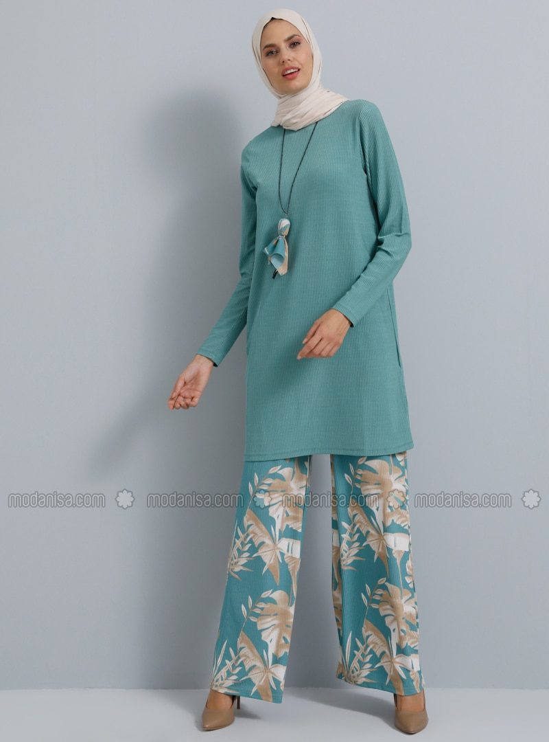 Green - Floral - Unlined - Suit
