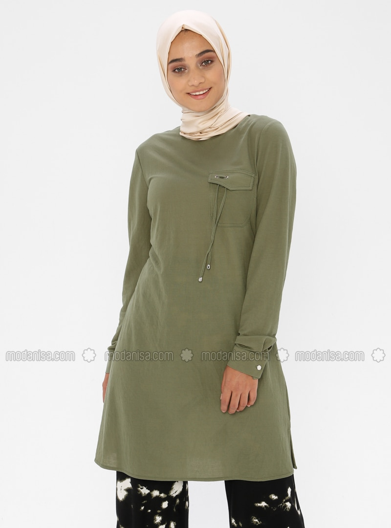 Green - Crew neck - Rayon - Tunic