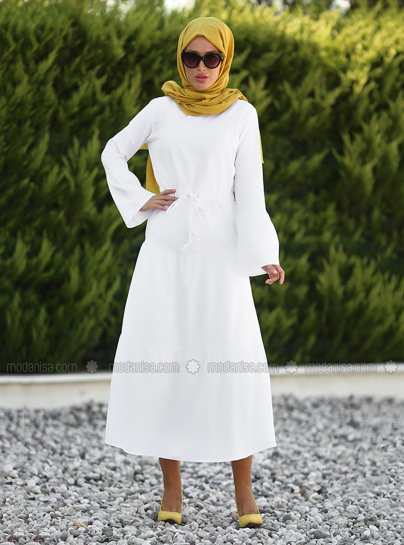 White - Crew neck - Unlined - Dress