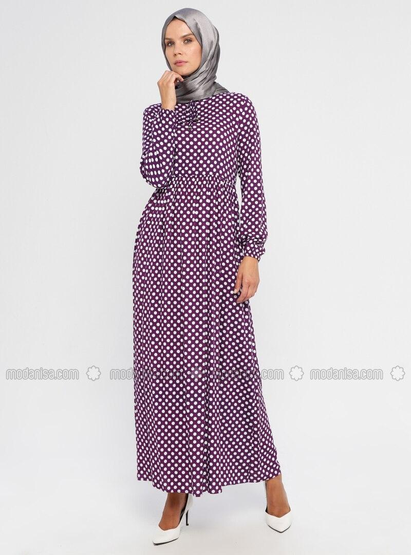 Purple - Polka Dot - Crew neck - Unlined - Viscose - Dress