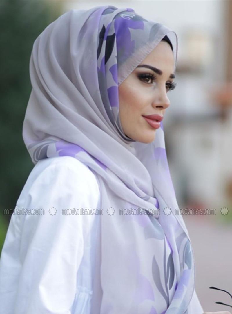 Lilac - Purple - Floral - Shawl