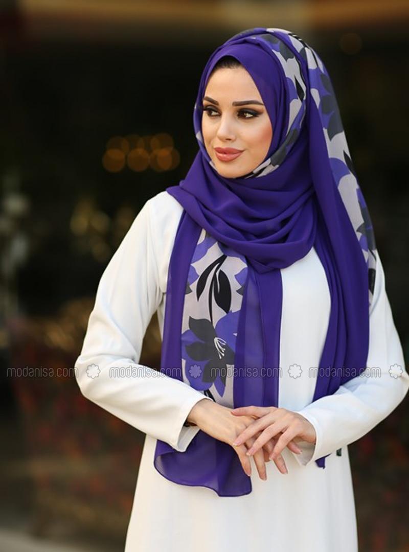 Purple - Floral - Shawl