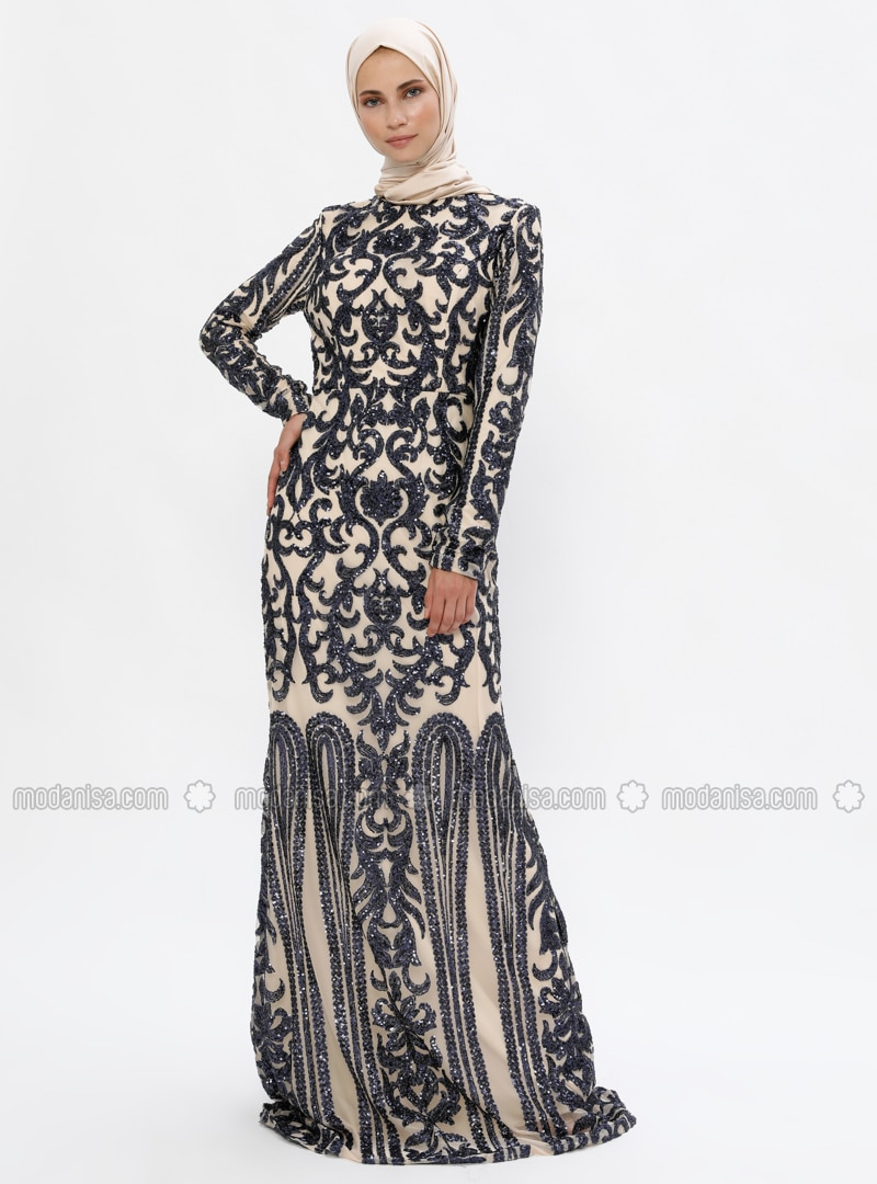 Navy Blue   Nude   Fully Lined   Crew Neck   Muslim Evening Dress by Modanisa