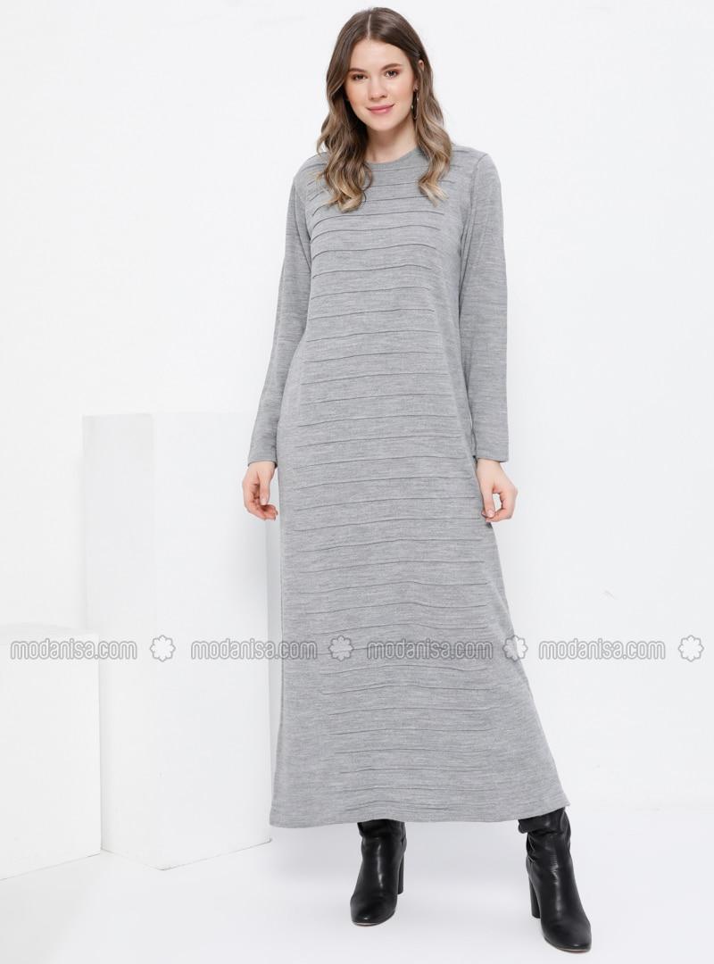 Gray - Unlined - Crew neck - Acrylic -  - Plus Size Dress