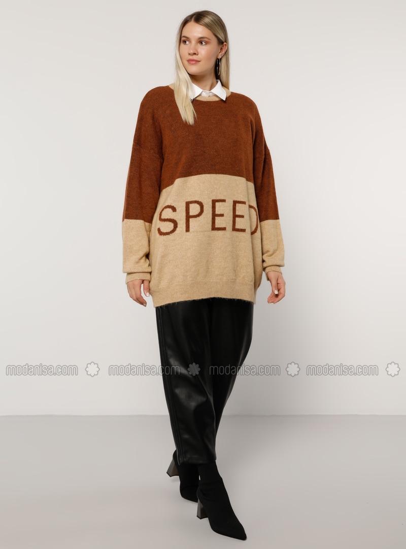 Camel - Ecru - Crew neck - Acrylic - Plus Size Jumper