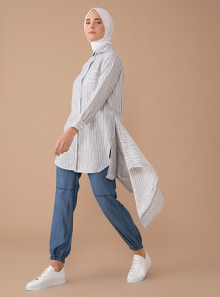 Blue - Stripe - Point Collar - Viscose - Blouses