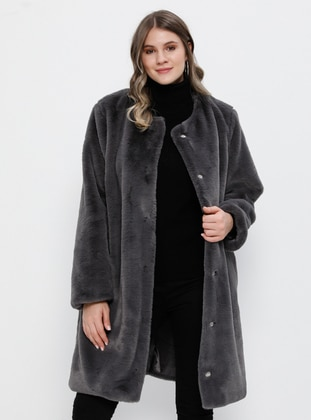 Anthracite - Fully Lined - Plus Size Overcoat
