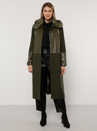 Khaki - Fully Lined - Acrylic - Plus Size Overcoat