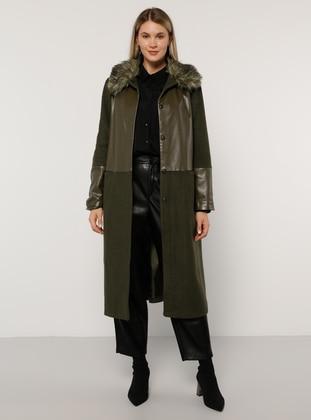 Khaki - Fully Lined - Acrylic - Plus Size Overcoat - Alia