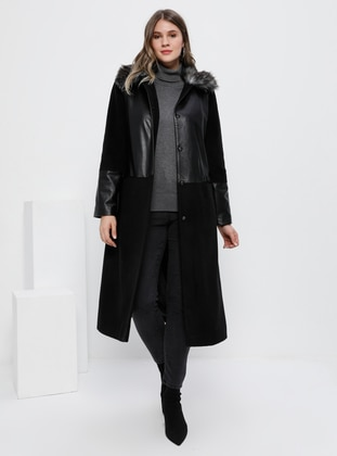 Black - Fully Lined - Acrylic - Plus Size Overcoat