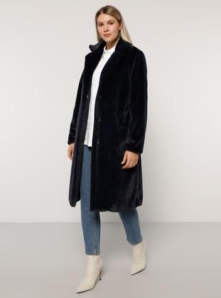 Navy Blue - Fully Lined - Plus Size Overcoat - Alia