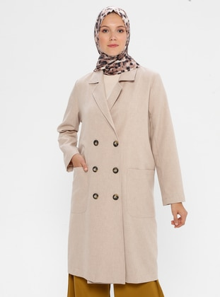 Beige - Unlined - Shawl Collar -  - Jacket