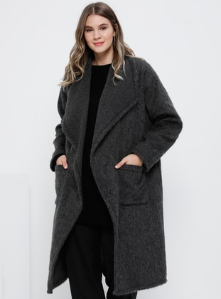 Anthracite - Unlined - Shawl Collar - Acrylic - Wool Blend - Plus Size Coat