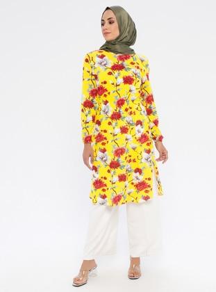 Yellow - Floral - Crew neck - Tunic