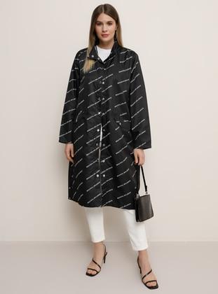 Black - Multi - Unlined - Polo neck - Plus Size Coat - Alia