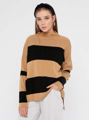 Camel - Black - Stripe - Polo neck - Acrylic - Jumper