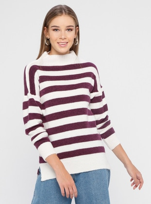 White - Ecru - Plum - Stripe - Polo neck - Acrylic -  - Jumper