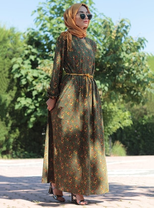 Green - Multi - Crew neck - Dress