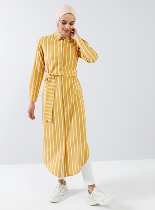 Mustard - Stripe - Point Collar - Unlined - Viscose - Dress