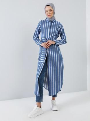Ecru - Saxe - Stripe - Point Collar - Unlined - Viscose - Dress