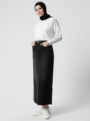 Anthracite - Unlined - Denim -  - Skirt - Refka