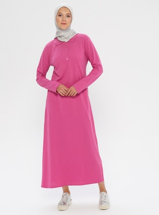 Fuchsia - Pink - Point Collar - Unlined -  - Dress