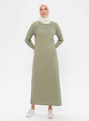 Khaki - Point Collar - Unlined -  - Dress