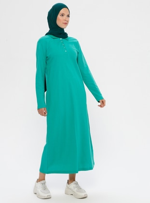 Green - Point Collar - Unlined -  - Dress