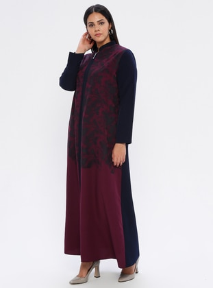 Navy Blue - Plum - Floral - Unlined - Plus Size Abaya - SOFMINA