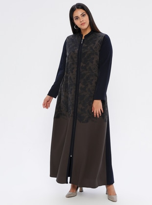 Navy Blue - Green - Floral - Unlined - Plus Size Abaya