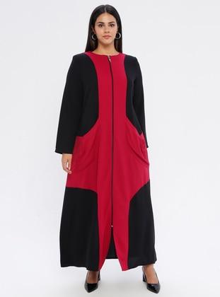 Fuchsia - Floral - Unlined - Plus Size Abaya