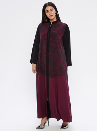 Plum - Black - Floral - Unlined - Plus Size Abaya - SOFMINA