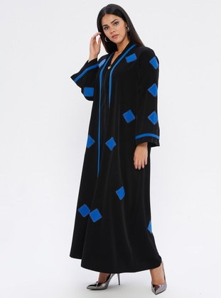 Blue - Floral - Unlined - Plus Size Abaya