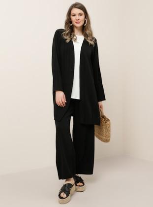 Black - Unlined - Plus Size Suit - Alia