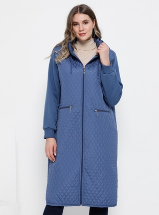 Indigo - Blue - Unlined - Polo neck - Plus Size Coat - Alia