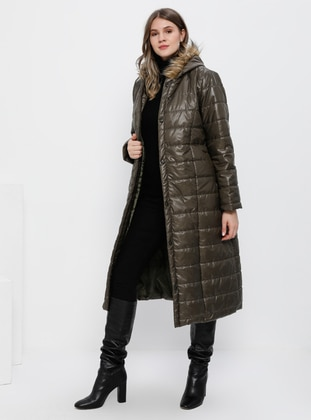 Khaki - Fully Lined - Plus Size Overcoat - Alia