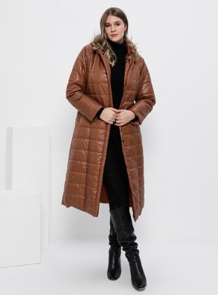 Brown - Terra Cotta - Fully Lined - Plus Size Overcoat - Alia