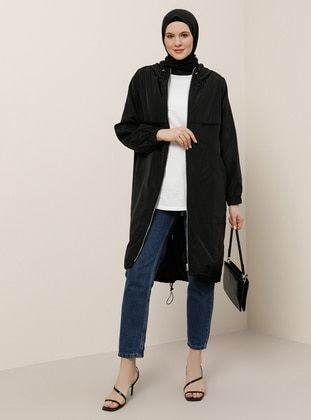 Black - Fully Lined - Polo neck - Waterproof - Plus Size Coat