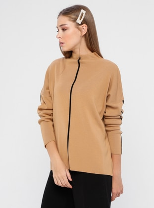 Camel - Black - Polo neck - Acrylic - Jumper