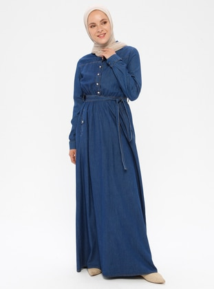 Navy Blue - Button Collar - Unlined - Denim -  - Dress