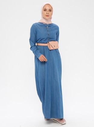 Blue - Button Collar - Unlined - Denim -  - Dress