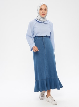 Blue - Unlined - Denim -  Lyocell -  - Skirt