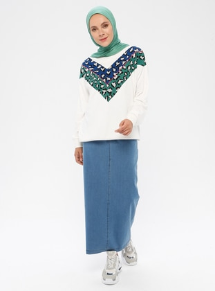 Blue - Unlined - Denim - Cotton - Skirt