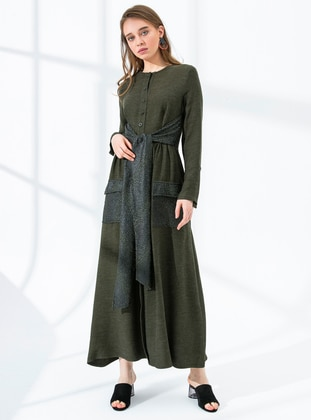 Khaki - Crew neck - Fully Lined - Viscose - Dress