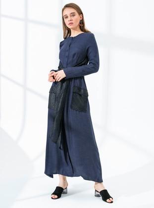 Navy Blue - Crew neck - Fully Lined - Viscose - Dress