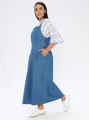 Blue - Unlined - Sweatheart Neckline - Denim -  - Plus Size Dress